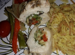 Chicken Rollatini with Rice and vegges baked in sherry broth