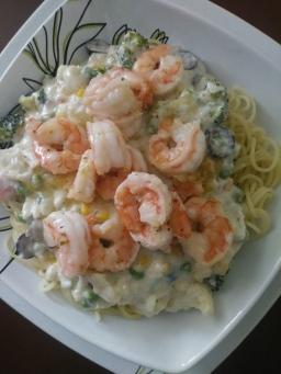 Vegetable Primavera w/ Shrimp (White)