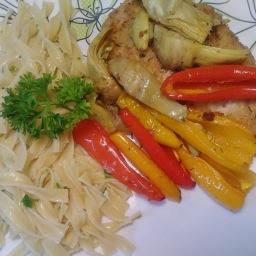 Chicken w/ mini peppers & artichokes