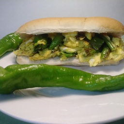Hot Frying Peppers and Egg Hoagie